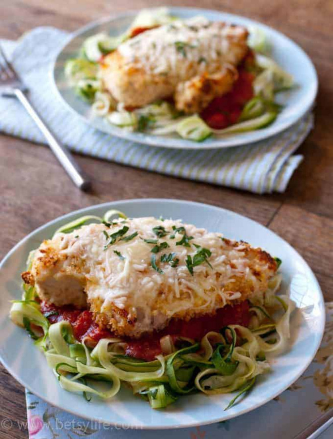 Baked Chicken Parmesan Over Zucchini Noodles - BetsyLife - zucchini noodles and chicken recipes