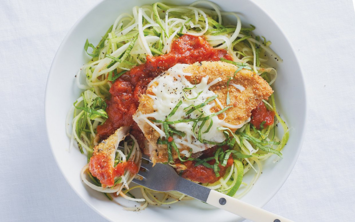 Baked Chicken Parmesan with Zucchini Noodles - zucchini noodles and chicken recipes