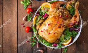Baked Chicken Stuffed Rice Christmas Dinner Stock Photo ..