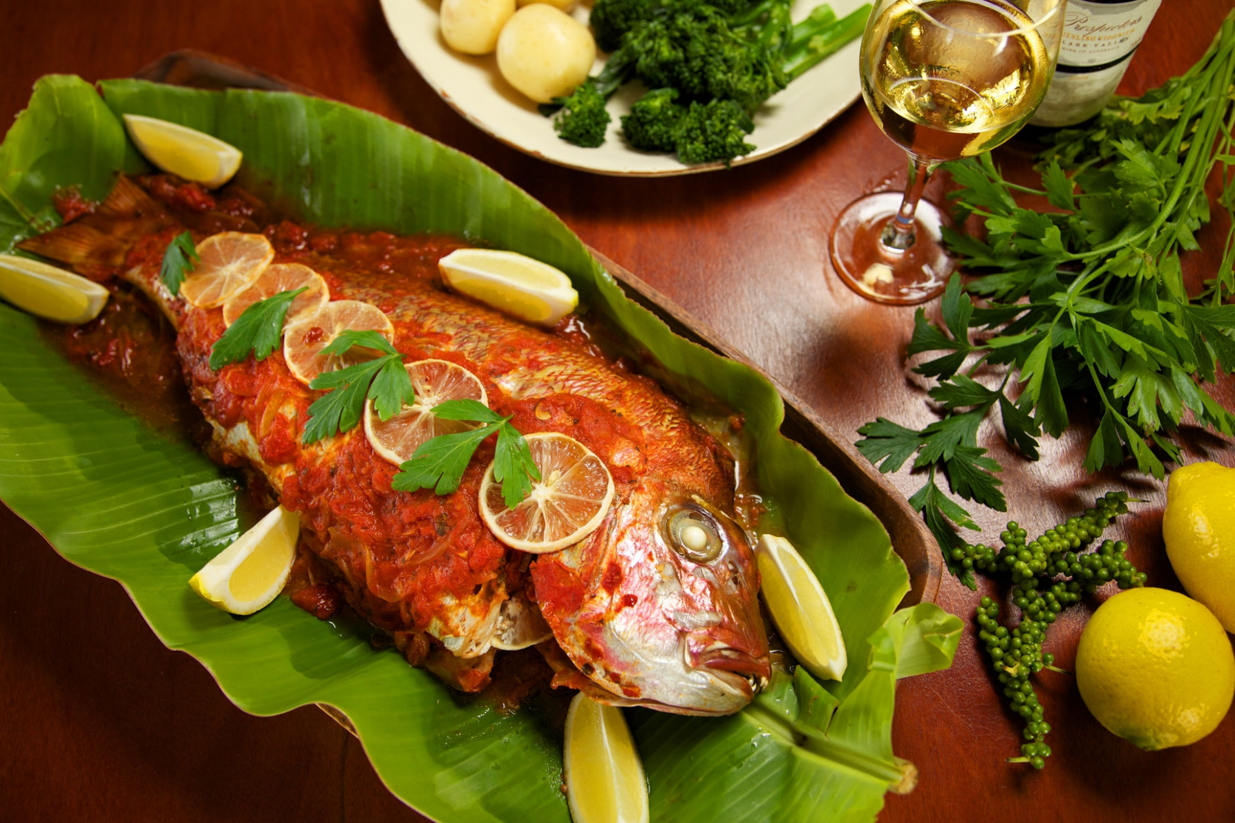 Baked fish (pesce al forno) recipe : SBS Food - sbs food recipes