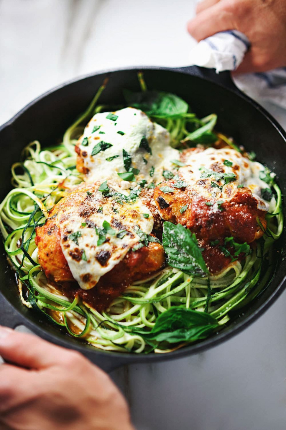 Baked Parmesan Chicken With Zucchini Noodles - Zucchini Noodles And Chicken Recipes
