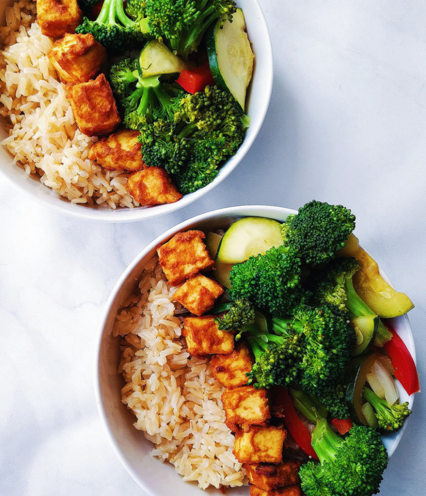 Baked Peanut Tofu Bowls - high protein recipes dinner
