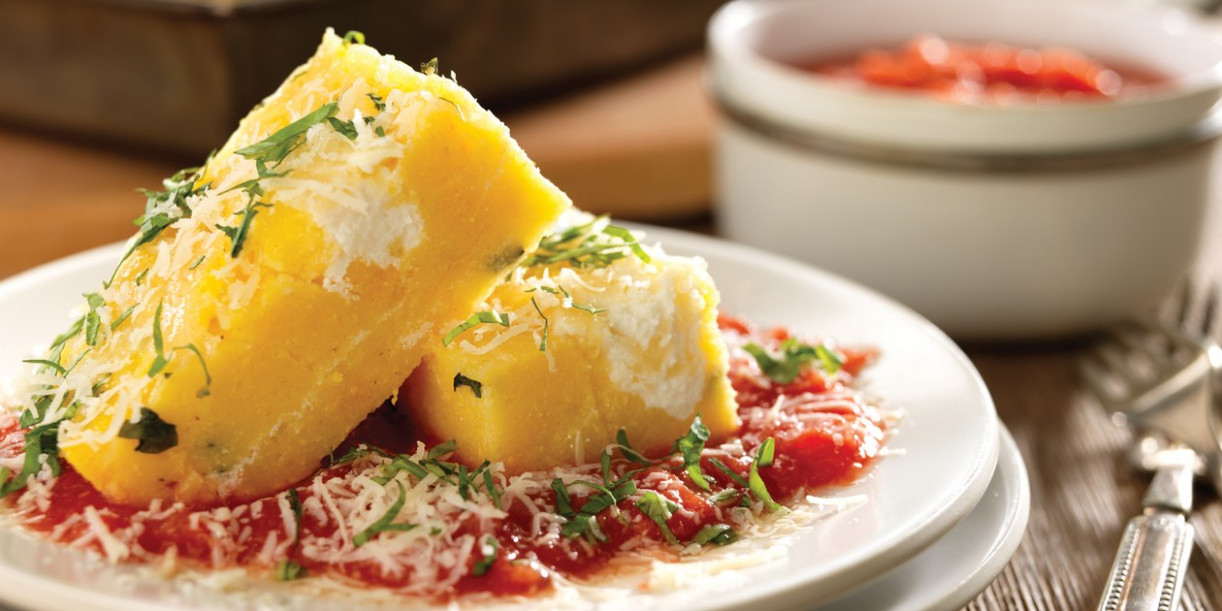 Baked Polenta With Tomato Sauce And Ricotta - Polenta Recipes Vegetarian