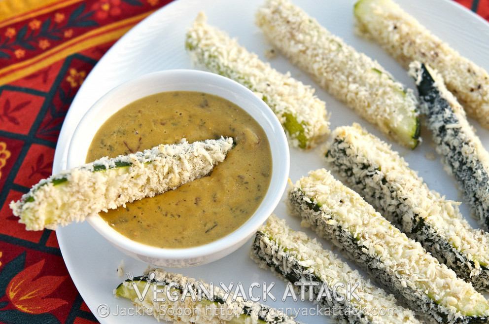 Baked Zucchini Sticks with Spicy Queso Dip - baked zucchini recipes healthy