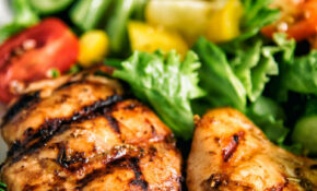 Balsamic Grilled Chicken With Greek Style Salad Recipe – Chicken Recipes Greek