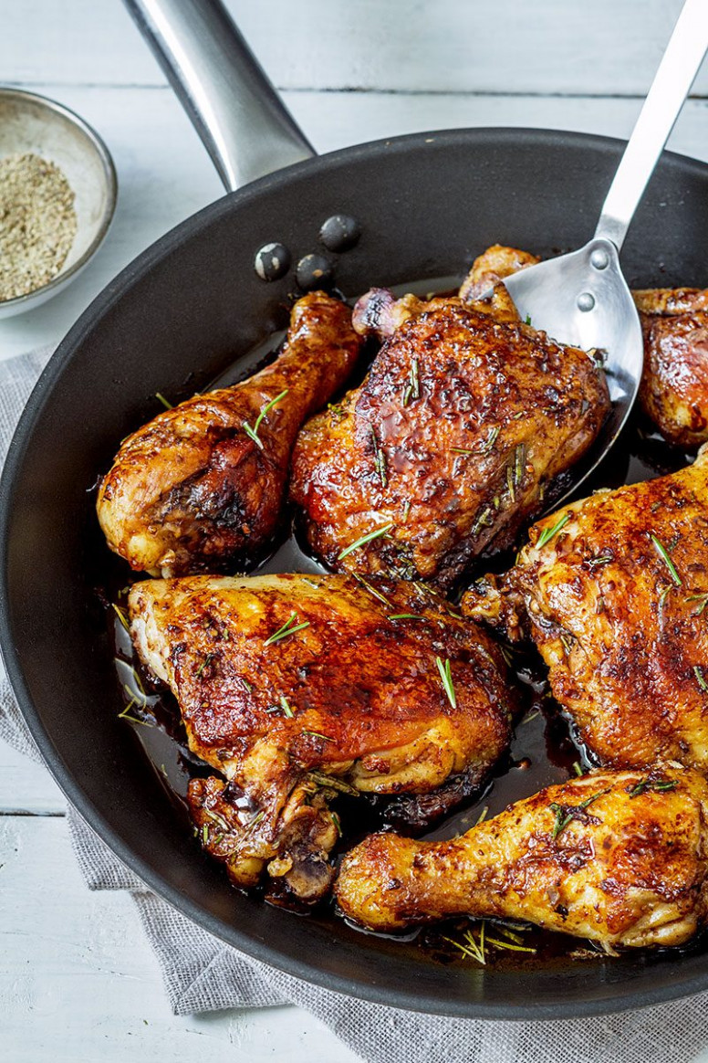 Balsamic Honey Skillet Chicken Legs Recipe — Eatwell101 - food recipes with chicken