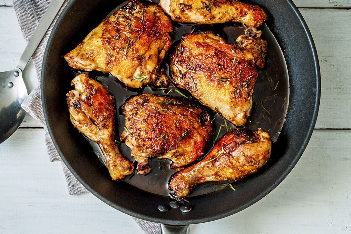 Balsamic Honey Skillet Chicken Legs Recipe — Eatwell101 - Skillet Recipes Chicken