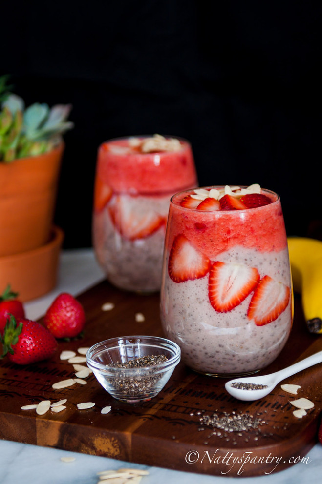 Banana Strawberry  Chia Pudding Recipe - quick healthy food recipes