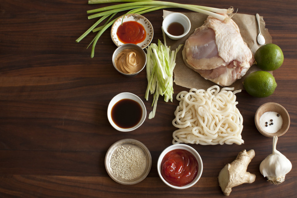 Barbecue Chicken with Peanut Udon Noodles and Cabbage Slaw (Ingredients) - udon noodle recipes chicken