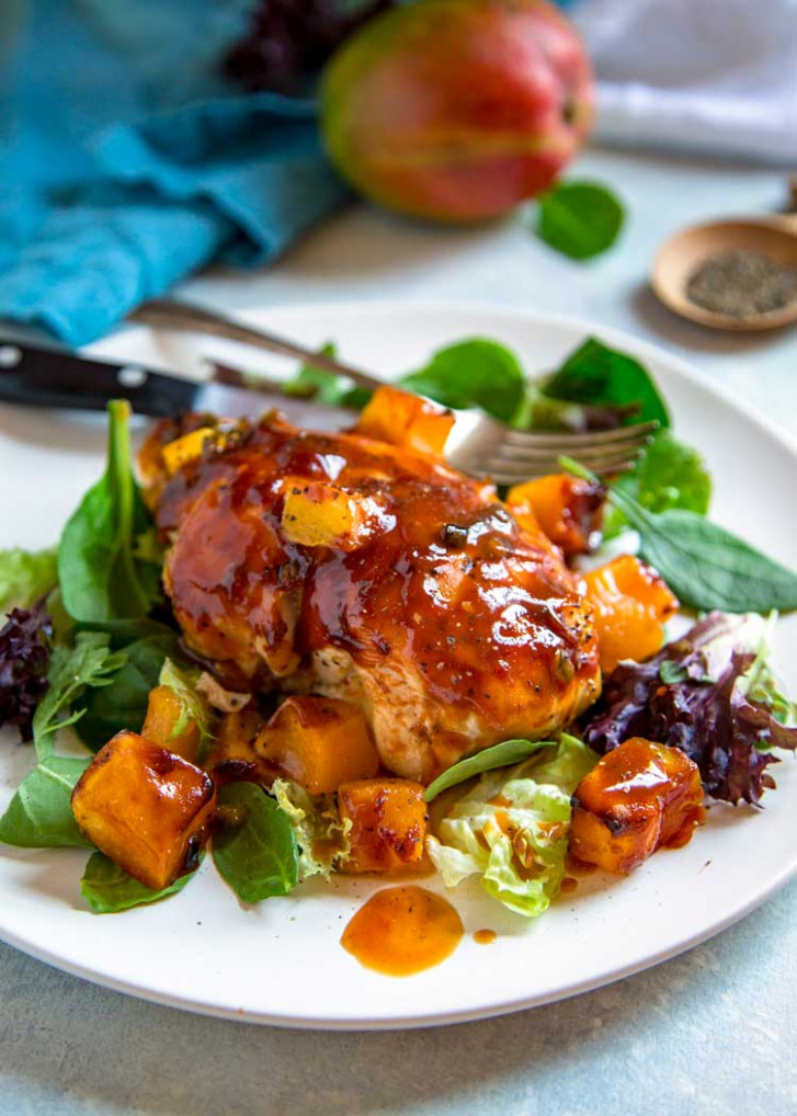 Barbecue Mango Chicken - Kevin Is Cooking - Mango Recipes Dinner