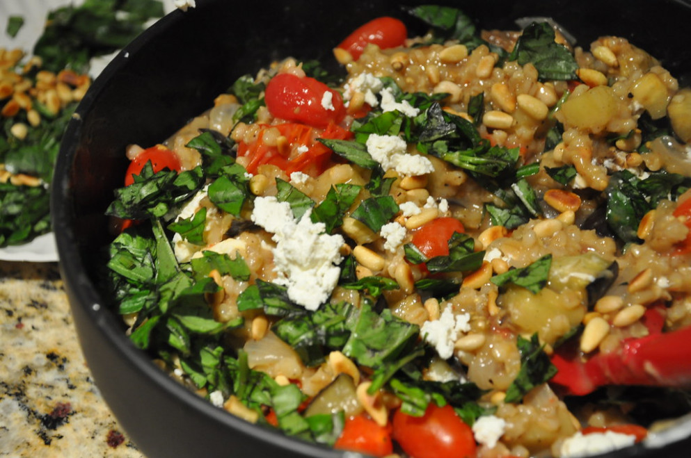 Barley risotto with eggplant and grape tomatoes - food recipes under 400 calories
