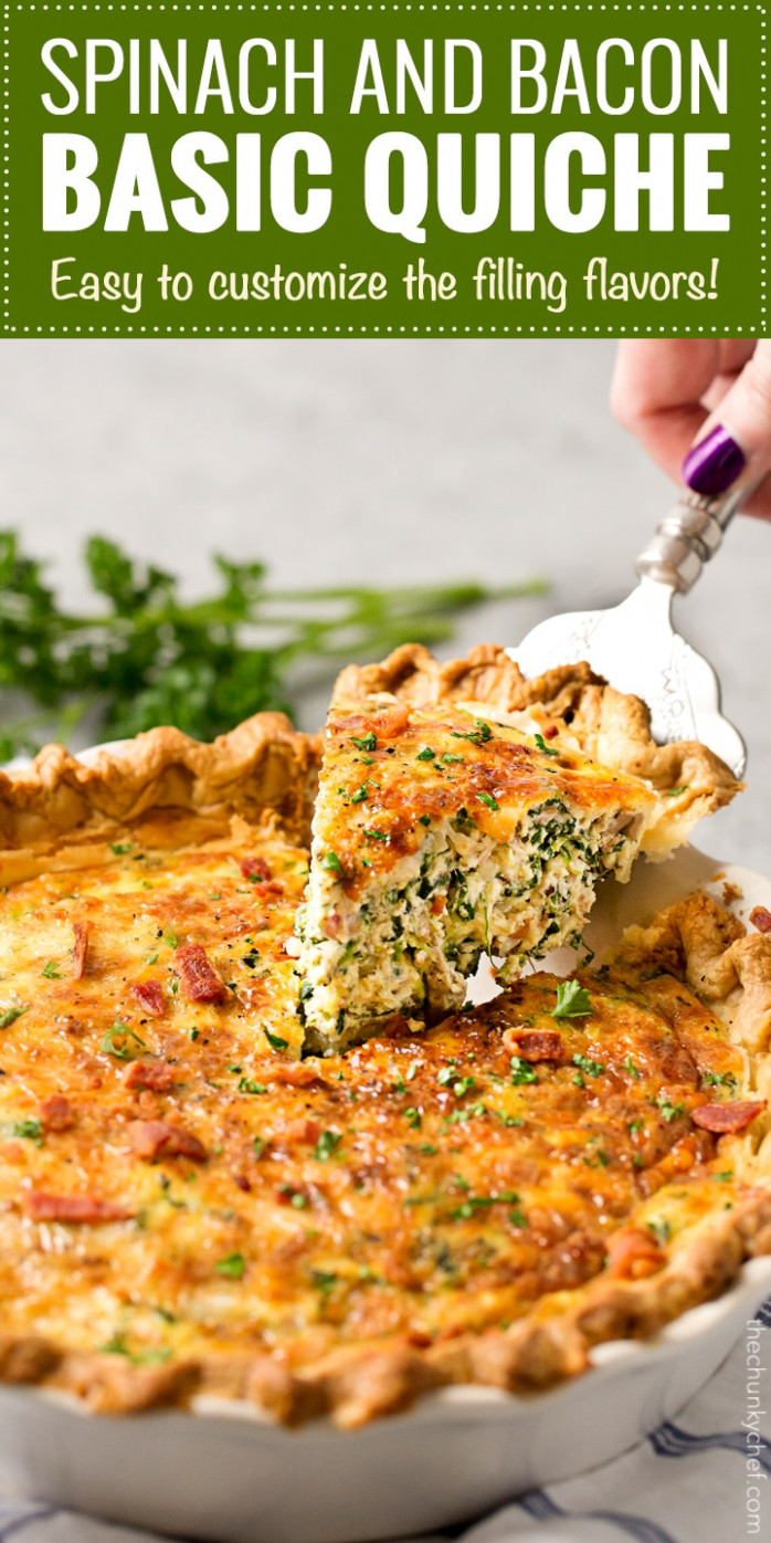 Basic Cheesy Spinach Quiche with Bacon - spinach recipes dinner