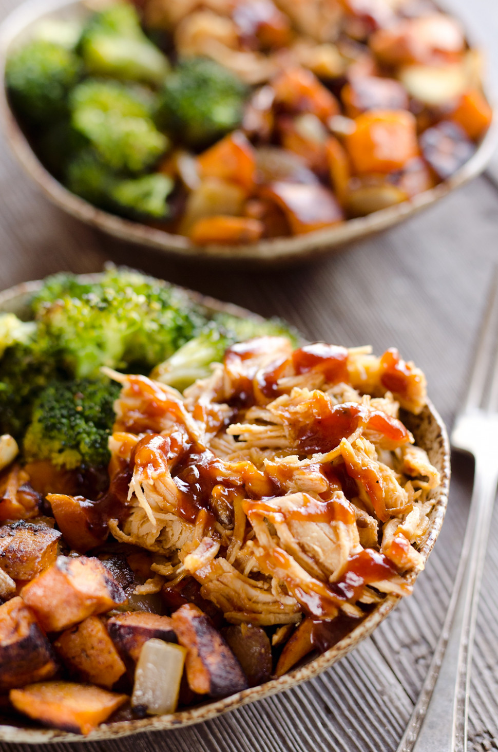 BBQ Chicken & Roasted Sweet Potato Bowls - recipes bbq chicken
