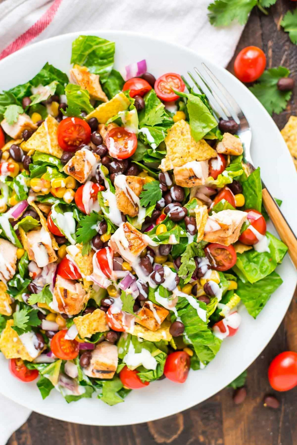 BBQ Chicken Salad with Creamy Ranch - recipes of healthy salads