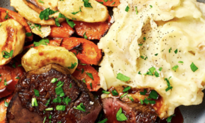 Beef Tenderloin With Brown Butter Roasted Veggies And Cheesy Mashed Potatoes – Dinner Recipes Steak