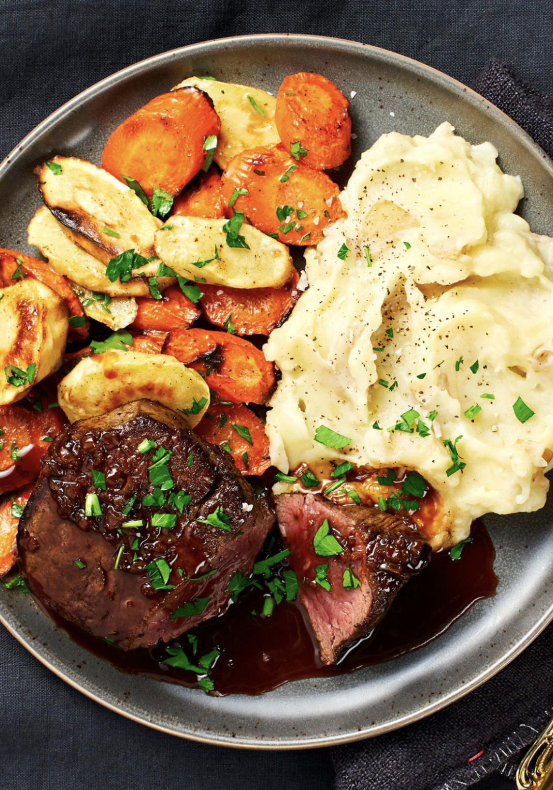 Beef Tenderloin with Brown Butter Roasted Veggies and Cheesy Mashed Potatoes - dinner recipes steak