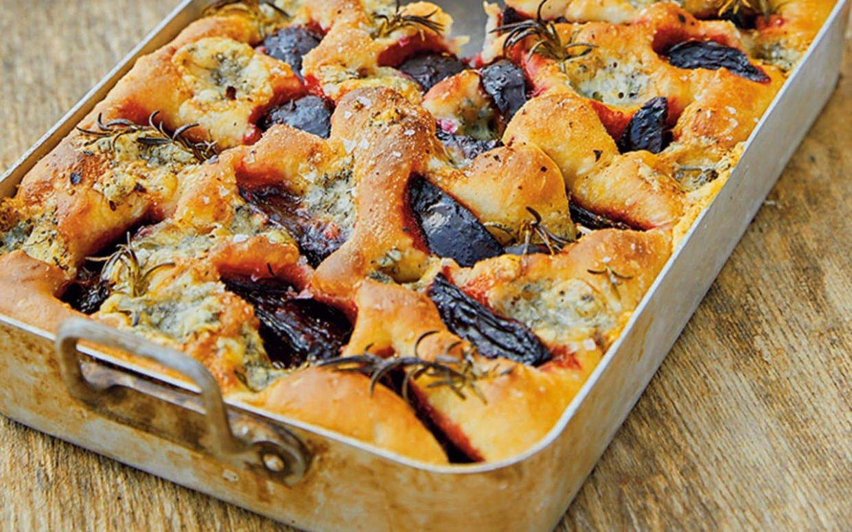 Beetroot, blue cheese and rosemary focaccia recipe - outward food recipes