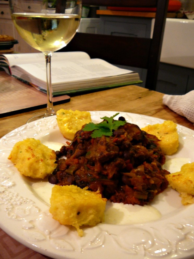 Black Bean Chilli with Polenta - recipes with gnocchi vegetarian