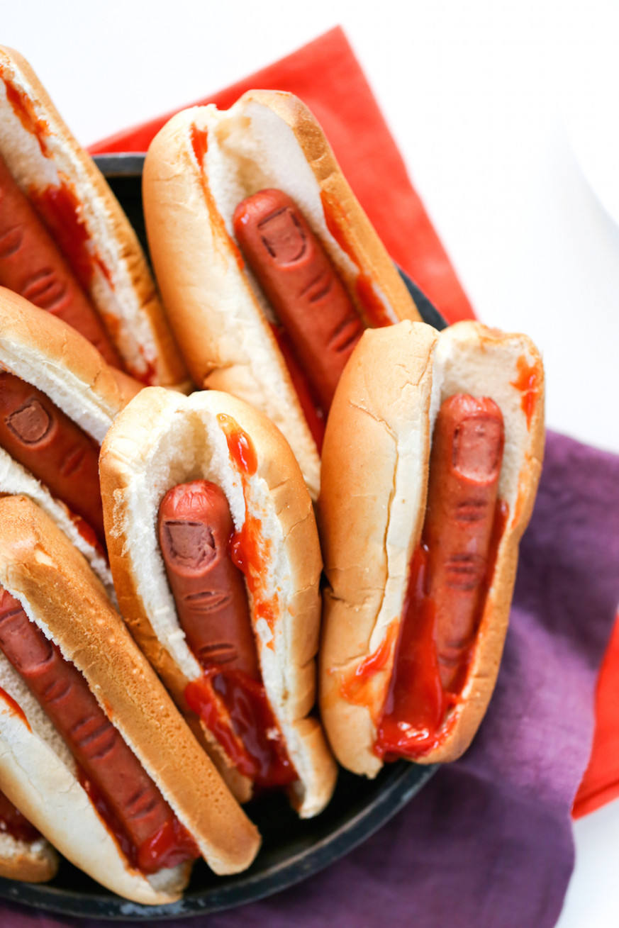 Bloody Finger Hot Dogs for Halloween - halloween food recipes