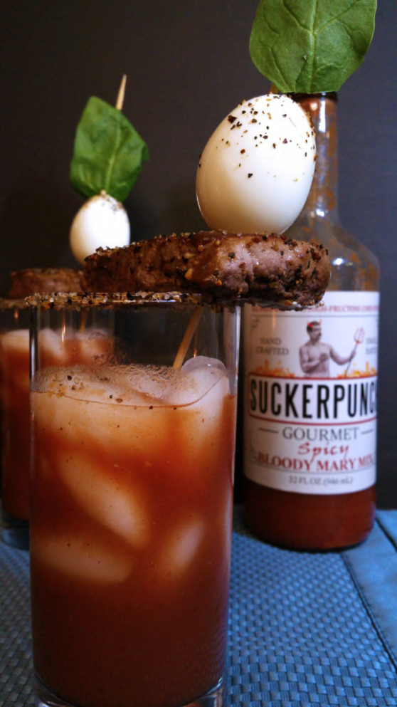 Bloody Mary - Made with Whiskey and topped with steak and ..
