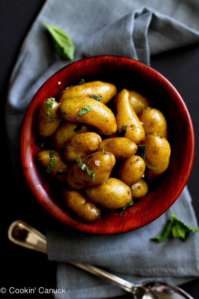 Boiled Potatoes with Olive Oil, Basil & Mint Recipe | cookincanuck