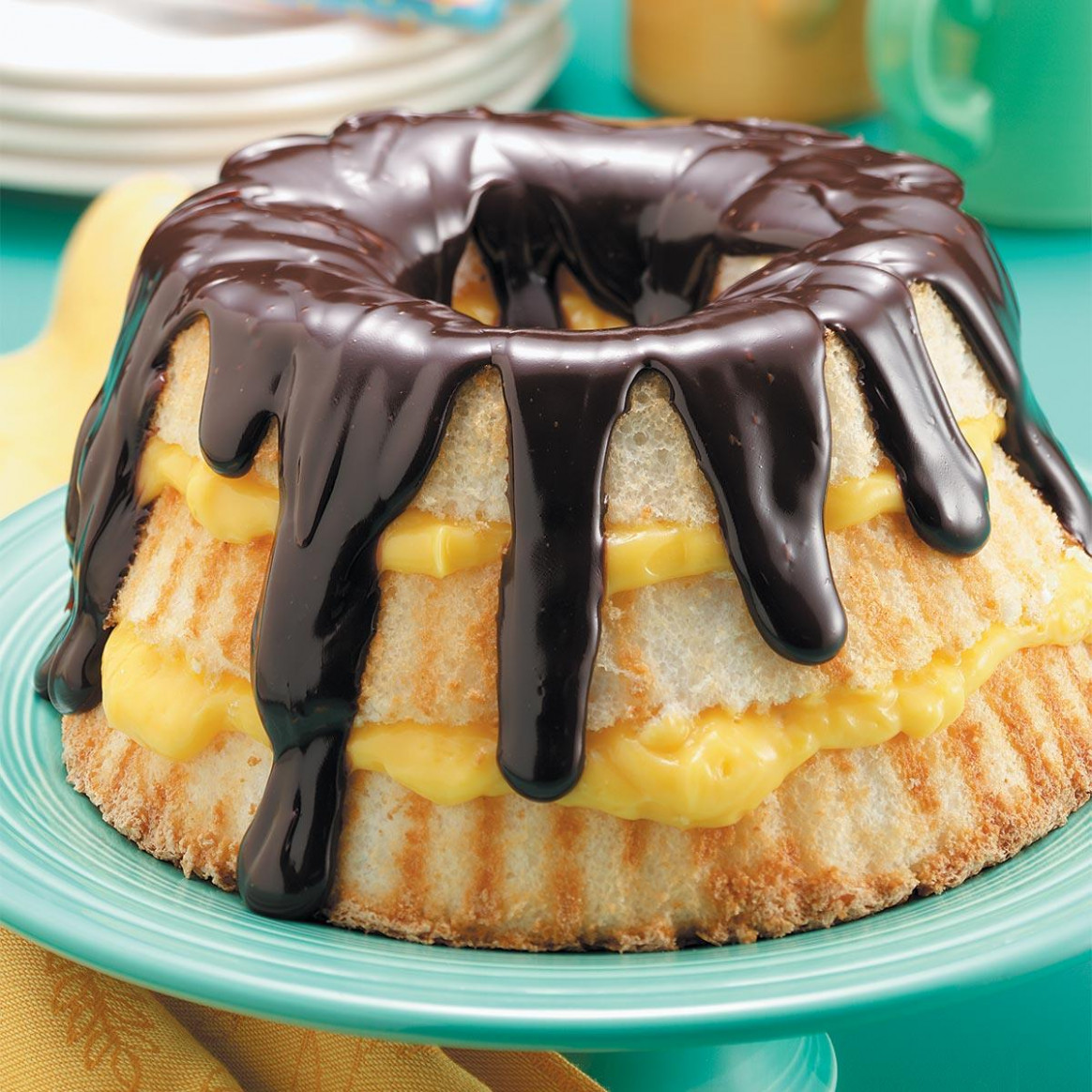 Boston Cream Angel Cake Recipe | Taste Of Home - Recipes With Angel Food Cake