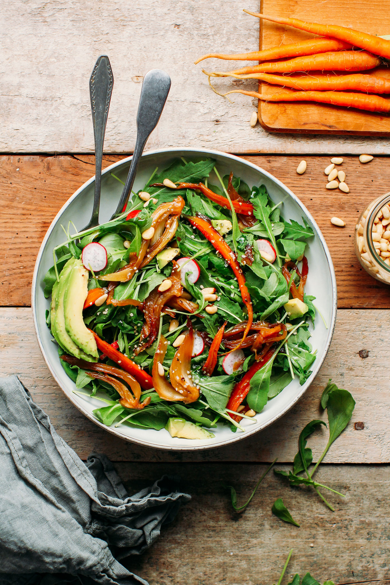 Braised Fennel & Carrot Arugula Salad - Full of Plants - fennel recipes vegetarian
