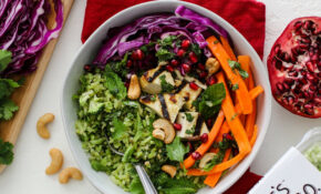 Broccoli Rice Bowl with Pomegranate & Grilled Tofu - Flora ...