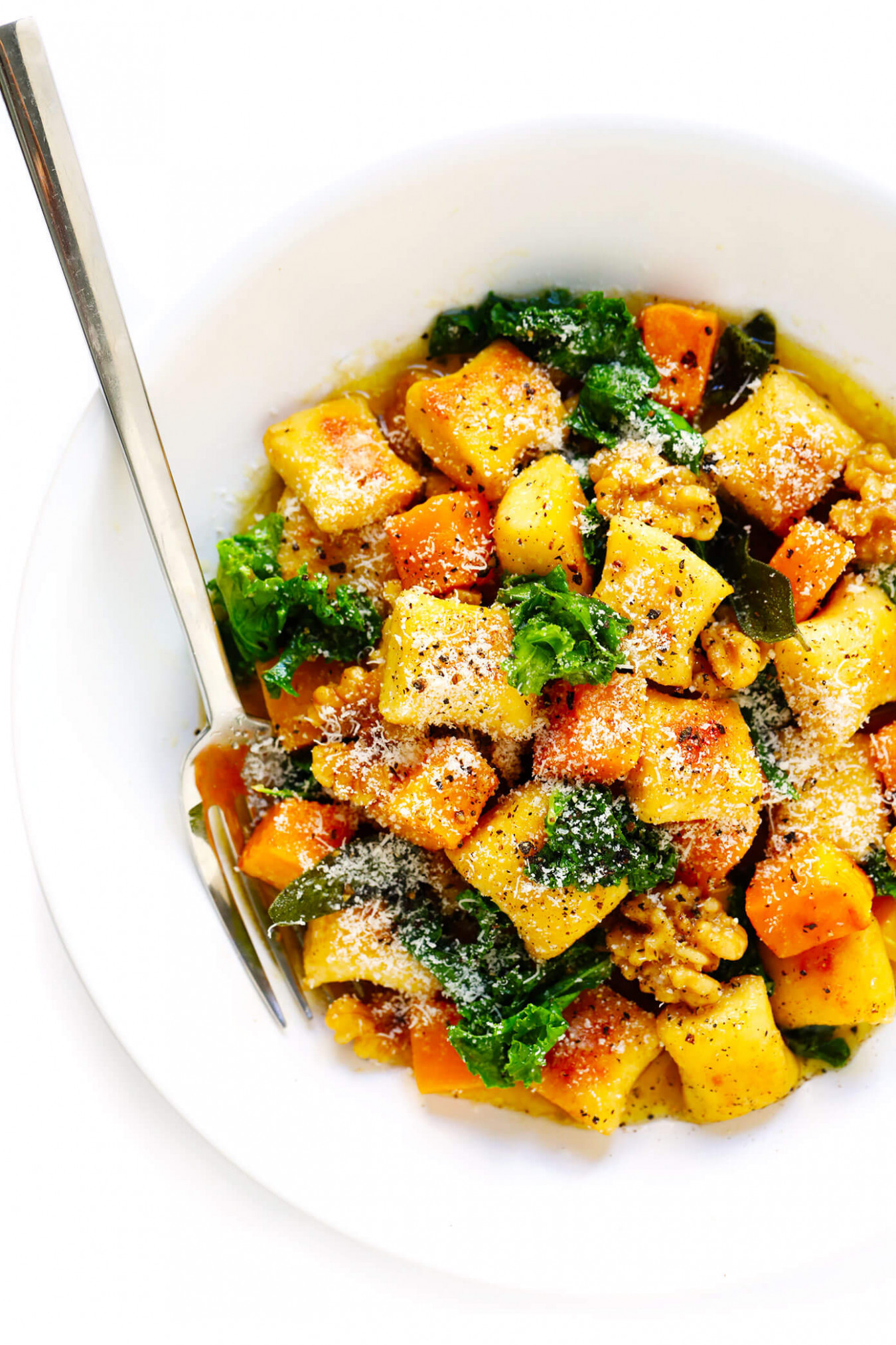 Brown Butter Gnocchi with Roasted Butternut Squash and Kale - recipes with gnocchi vegetarian