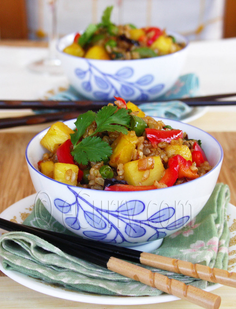 Brown Rice and Pineapple Fried Rice - vegetarian brown rice recipes