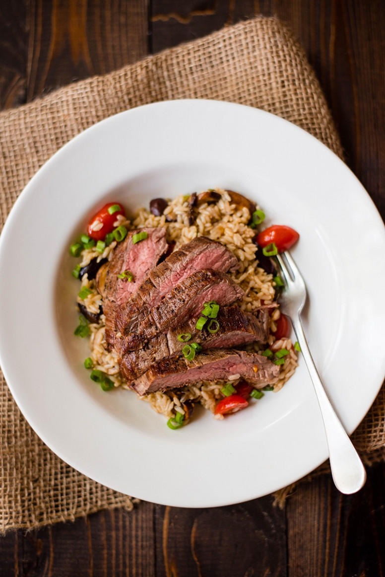 Brown Rice Pilaf With Flank Steak - healthy brown rice recipes