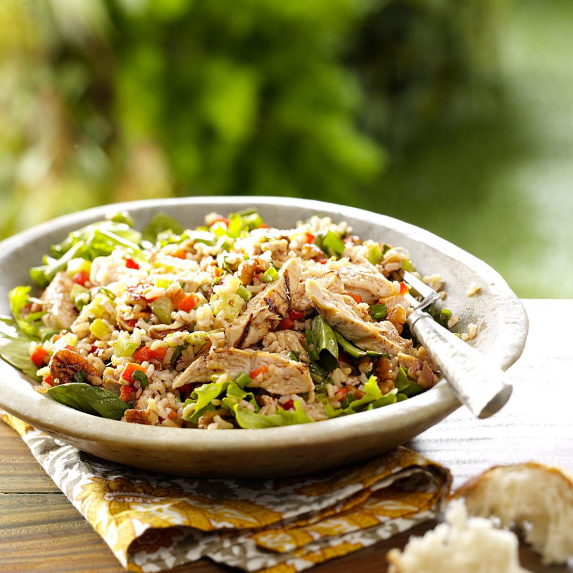 Brown Rice Salad with Grilled Chicken - healthy chicken and rice recipes