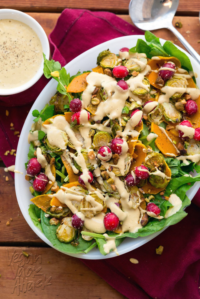 Brussels Sprout Butternut Squash Salad with Creamy Dressing - spinach recipes vegetarian