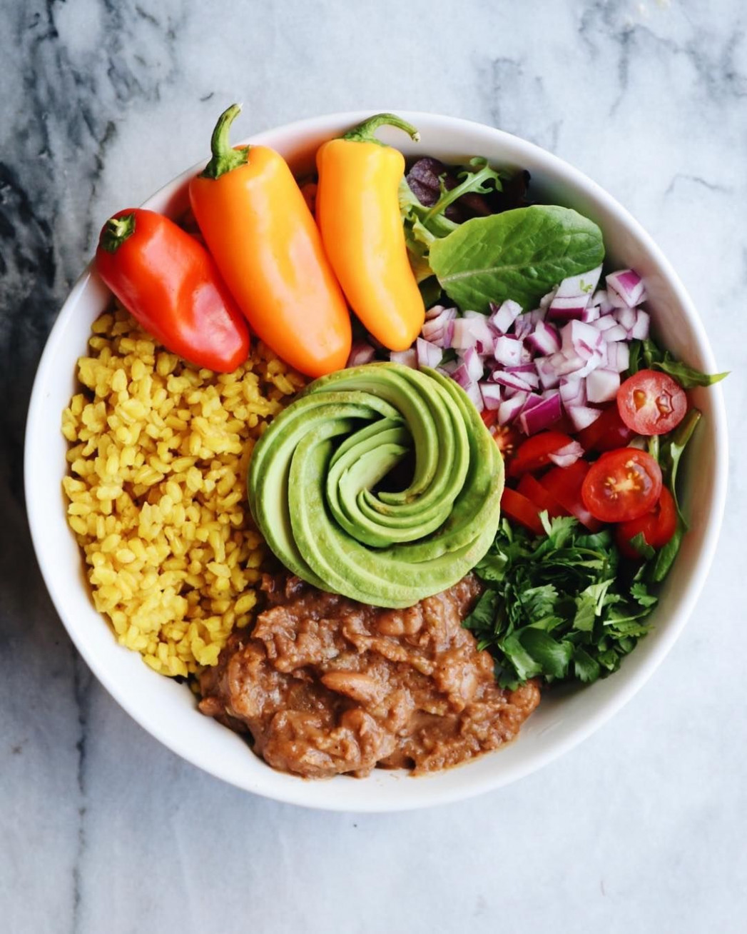 burrito bowl with refried beans and rice in 11 | Healthy ..