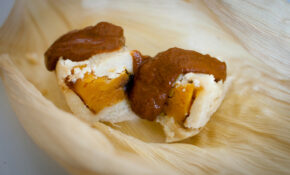 Butternut Squash And Goat Cheese Tamales With Mole Poblano – Recipe Vegetarian Tamales