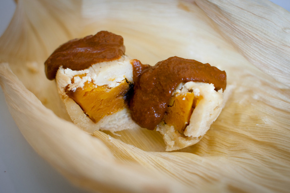 Butternut squash and goat cheese tamales with mole poblano - recipe vegetarian tamales