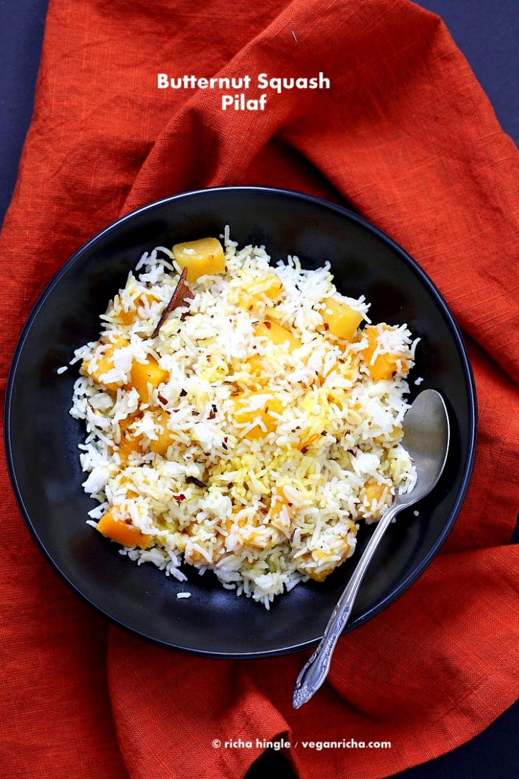 Butternut Squash Pilaf with whole spices - recipes butternut squash vegetarian