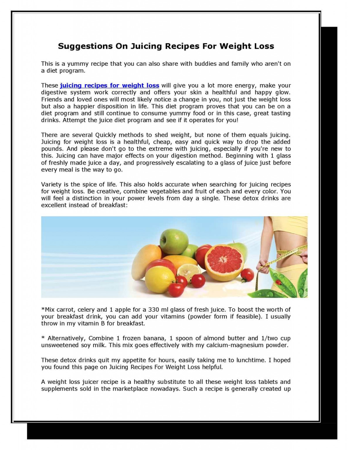Calaméo - Suggestions On Juicing Recipes For Weight Loss - healthy recipes juicer weight loss