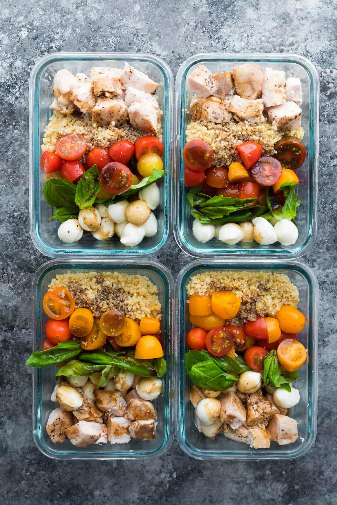Caprese Chicken Salad Meal Prep Bowls - lunch recipes chicken