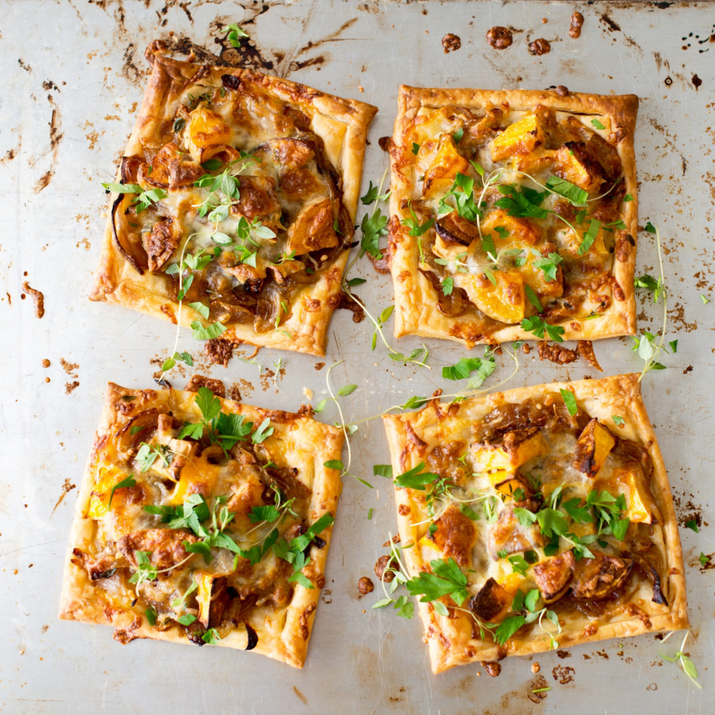 Caramelised onion, leftover cheese and roast vege tarts - recipes vegetarian starters