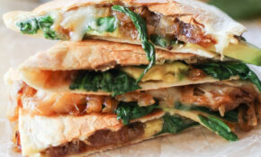 Caramelized Onion Spinach Avocado Quesadilla