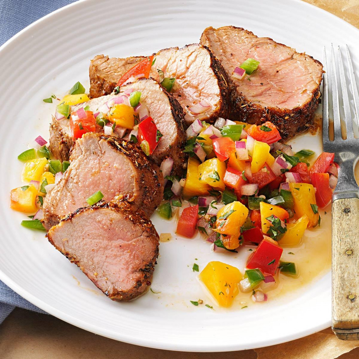 Caribbean-Spiced Pork Tenderloin with Peach Salsa Recipe ..