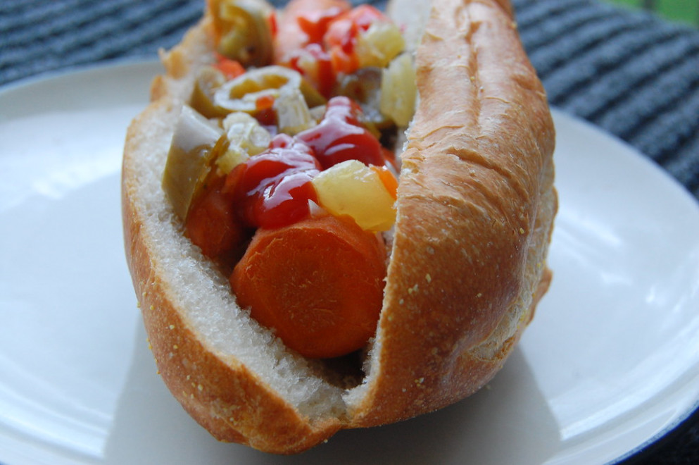 Carrot Hot Dog With Giardiniera - Recipe Vegetarian Hot Dog
