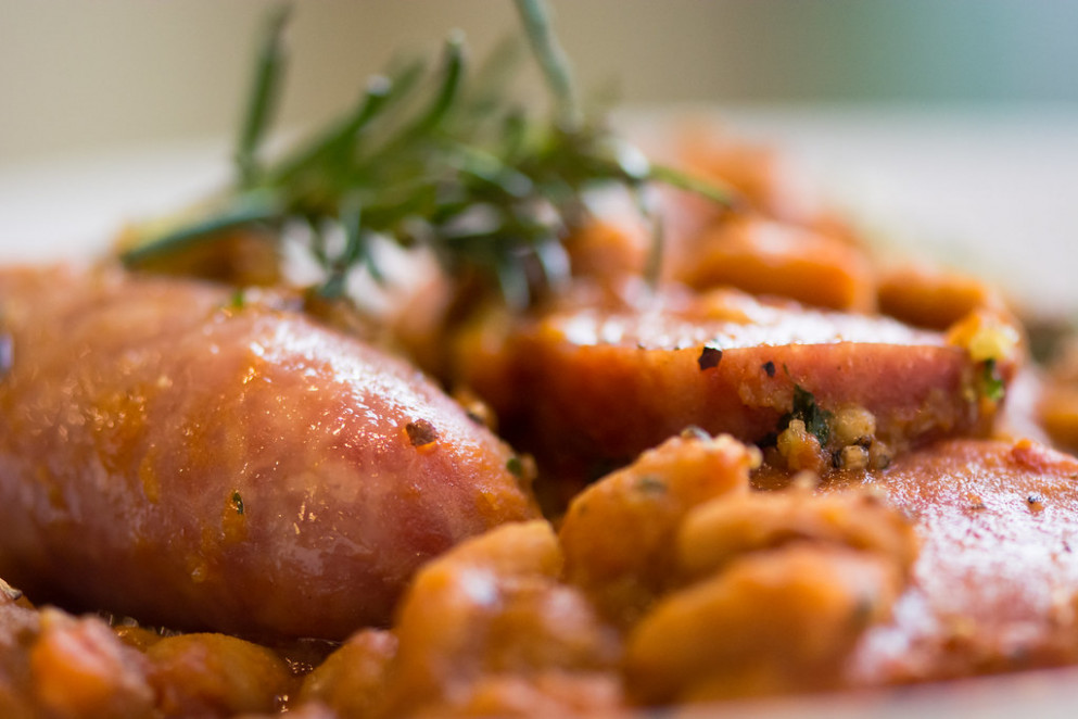 Cassoulet Toulousain, detail of sausages - recipes with sausage for dinner