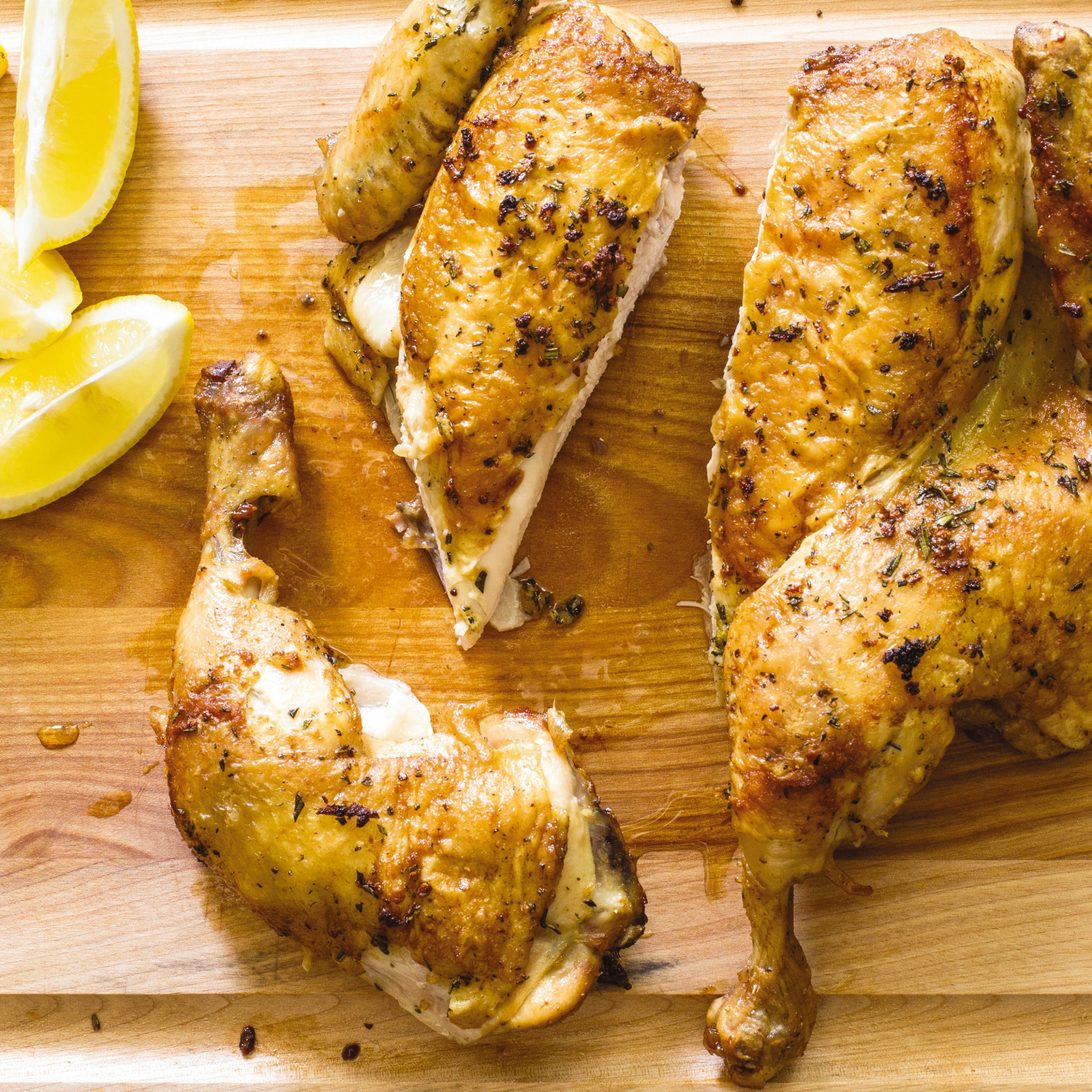 Cast Iron Crisp Roast Butterflied Chicken With Rosemary And Garlic - Chicken Recipes Cast Iron