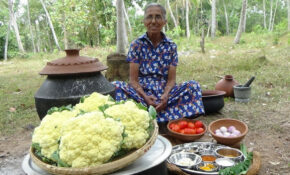 Cauliflower Masala Curry Prepared In My Village By Grandma ..