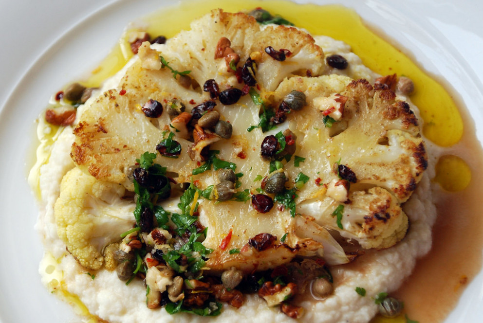 Cauliflower Steaks and Purée with Walnut-Caper Salsa - food zaatar recipes