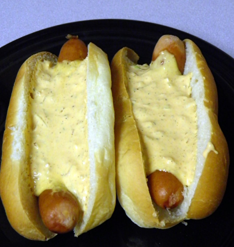 Cheddar Dogs topped with Dog Breath Sauce (Explore) - food recipes names