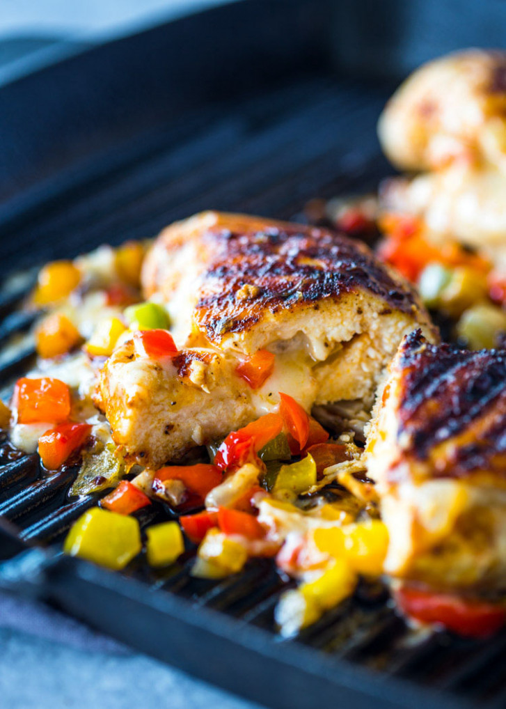 Cheese and Pepper stuffed Grilled Chicken Breasts - chicken recipes quick