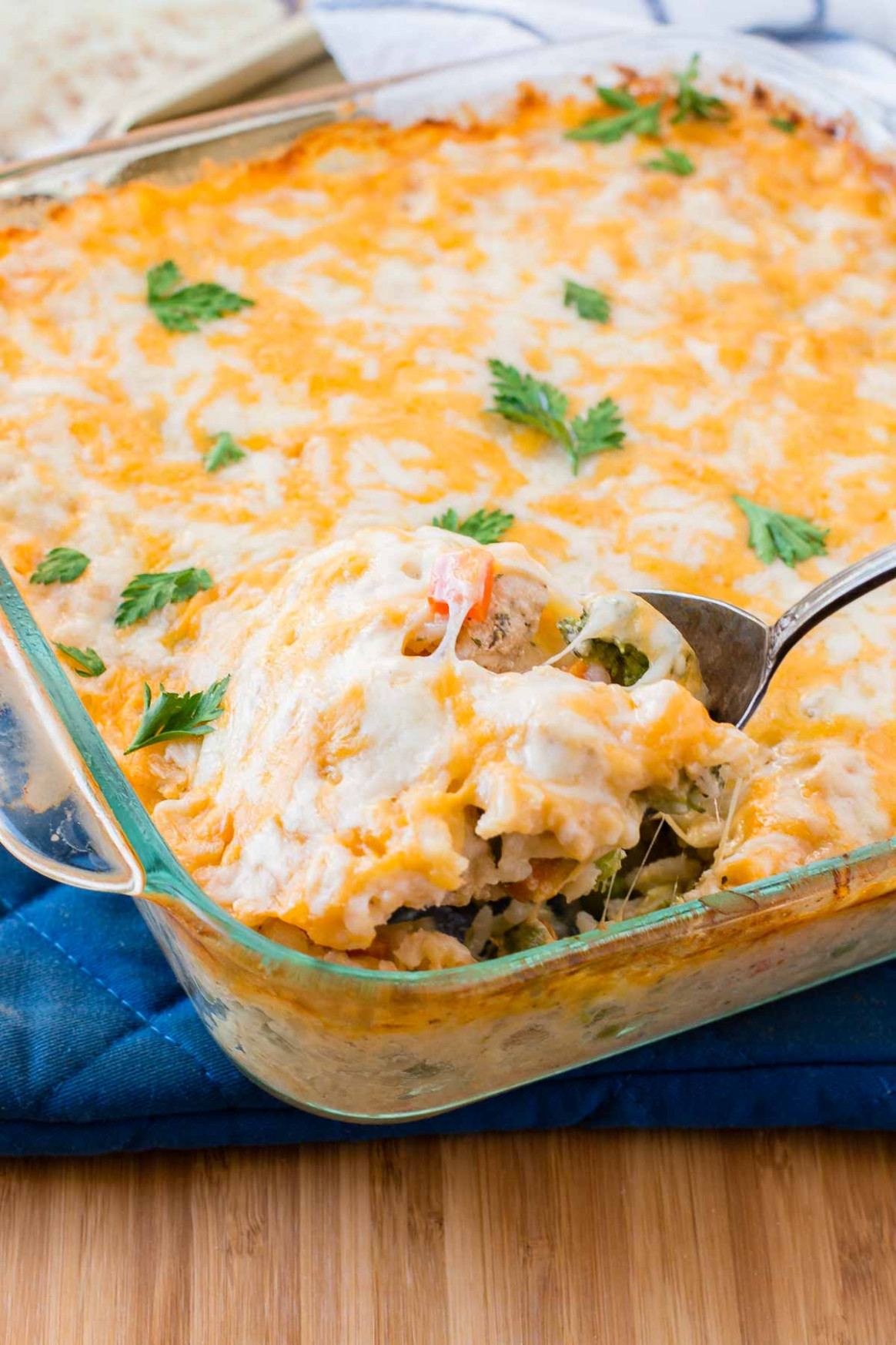 Cheesy Chicken and Rice Casserole - Oh Sweet Basil - simple rice recipes for dinner